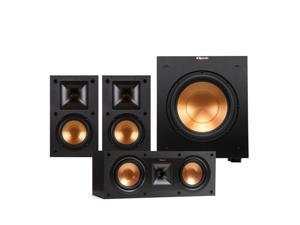 """Klipsch R-14M Reference Monitor Speaker with R-25C Reference Center Speaker and R-10SW 10"""" Powered Subwoofer (Black)"""