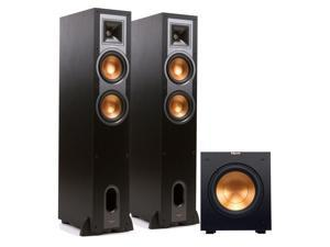 """Klipsch R-26F Reference Floorstanding Speakers with R-10SW 10"""" Powered Subwoofer (Black)"""