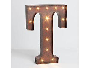 """12"""" - Rustic Brown - Metal - Battery Operated - LED - Lighted Letter """"T"""" 