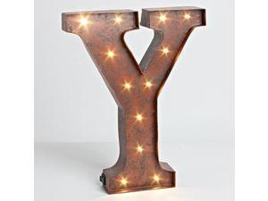 "12"" - Rustic Brown - Metal - Battery Operated - LED - Lighted Letter ""Y"" 