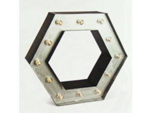 "20.5"" - Black & Silver - Metal - Battery Operated - LED - Lighted Hexagon Wall Shelf 
