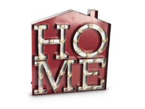 """20"""" - Silver & Red - Metal - Battery Operated - LED - House Shaped - Lighted """"Home"""" Shadow Box - Sign 