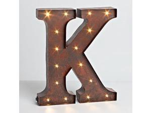 "12"" - Rustic Brown - Metal - Battery Operated - LED - Lighted Letter ""K"" 