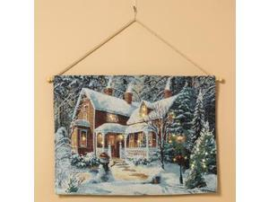 """Gerson 230003 - 30"""" - """"Brown House"""" Battery Operated Fiber Optic Lighted Tapestry (Batteries Not Included)"""