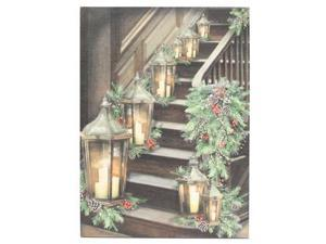 "Ohio Wholesale 47051 - 21.25"" x 16"" x 1"" ""Stairway"" Battery Operated LED Lighted Canvas with Timer (Batteries Not Included)"