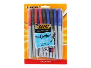 Bic Round Stic Grip Xtra Comfort Stick Ball Point Pens, 1.2mm, Medium Point, Assorted Colors, Pack of 26