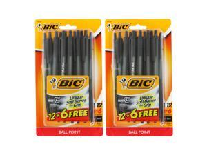 Bic Soft Feel Clic Retractable Ball Point Pens, 1.0mm, Medium Point, Black Ink, 2 Packs of 18