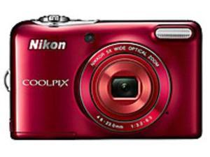 Nikon CoolPix L30 26438 20.1 Megapixels Digital Camera - 5x Optical/4x Digital Zoom - 3-inch LCD Display - 4.6-23 mm Lens - Red