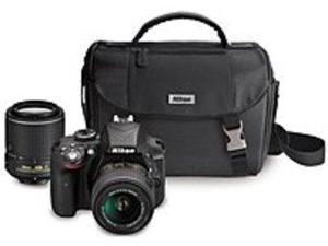 Nikon 13473 D3300 24.2 Megapixels Digital SLR Camera Kit with Lenses - 3x Optical - 3.0-inch Display - 18-55 mm, 55-200 mm Wide Angle Lenses - Black