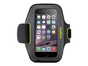 Belkin Sport-Fit Carrying Case (Armband) for iPhone 6 - Blacktop, Limelight - Scratch Resistant, Water Resistant - Neoprene, Lycra - Armband
