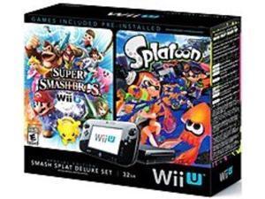 Nintendo WUPSKAGX 32 GB Wii U Super Smash Bros and Splatoon Bundle Deluxe Set - Special Edition - Black