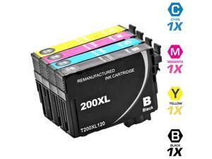 Epson T200XL Set of 4 High Yield Ink Cartridges: 1 Black (T200XL120) & 1 Cyan (T200XL220), Magenta (T200XL320), Yellow (T200XL420)