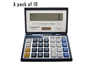 Pack of 10, JOINUS JS-751 Dual Power Executive Foldable Style 14 Digit basic Calculator