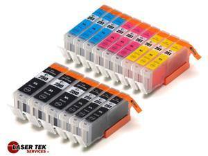 Laser Tek Services® 15 Pack of Canon compatible PGI-250 and CLI-251 inks. (3BK,3k,3C,3M,3Y)