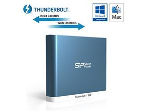 Silicon Power 240GB Thunderbolt T11 Portable External SSD Solid State Drive with Cable Blue Model SP240GBTSDT11014
