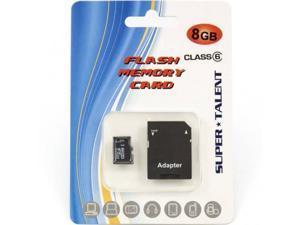 SUPER TALENT MSD8GBST6R(SZ) 8GB Micro SDHC Memory Card w Adapter