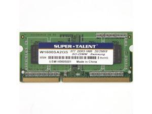 SUPER TALENT W1600SA2GS(SZ) Super Talent DDR3-1600 SODIMM 2GB256Mx8 CL11 Samsung Chip Notebook Memory