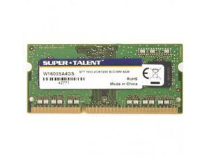 SUPER TALENT W1600SA4GS(SZ) Super Talent DDR3-1600 SODIMM 4GB512Mx8 CL11 Samsung Chip Notebook Memory