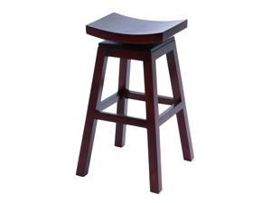 "BENZARA 37803 Wooden 30"" Barstool with Solid Wooden Legs in Dark Finish"