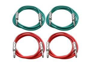 "SEISMIC AUDIO - SATRX-6 - 4 Pack of 6' 1/4"" TRS to 1/4"" TRS Patch Cables - Balanced - 6 Foot Patch Cord - Green and Red"