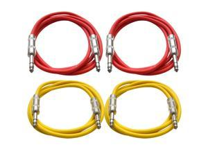 "SEISMIC AUDIO - SATRX-6 - 4 Pack of 6' 1/4"" TRS to 1/4"" TRS Patch Cables - Balanced - 6 Foot Patch Cord - Red and Yellow"