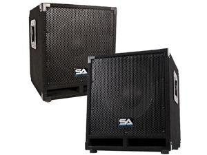 "Seismic Audio - Mini-Tremor_Pair - Pair of Powered 12"" Pro Audio/ DJ Subwoofer Cabinets  - Active 12 Inch PA / DJ / Band Live Sound Subwoofers"