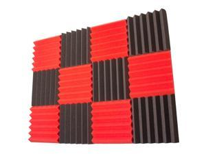Seismic Audio - SA-FMDM2-Red-Charcoal-6Each - 12 Pack of Red / Charcoal 2 Inch Studio Acoustic Foam Sheets - Noise Canceling Foam Wedge Tiles