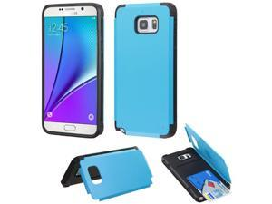 For Galaxy Note 5 Tropical Teal Inverse Armor Stand Case Cover +Card Wallet
