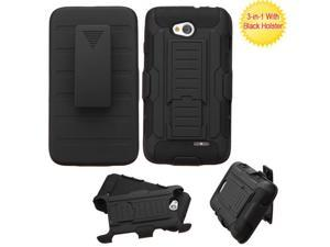 Black Car Armor Protector Cover Case w/Stand for LG Ultimate 2 Optimus L70