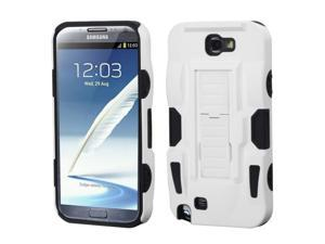 For Galaxy Note 2 White/Black Advanced Armor Stand Protector Cover (Rubberized)