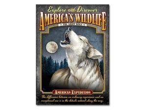 American Expedition Gray Wolf Tin Sign Magnet TINM-106