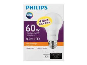 PHILIPS 460311 60 Watt Equivalent Warm White A19 LED Light Bulb - 4 Pack
