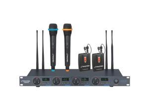PYLE PDWM7300 Rack Mount Professional 4 Mic Wireless UHF Microphone System with 2 Lavalier and 2 Handheld Microphone