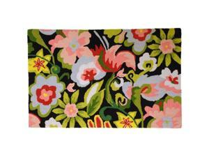 Homefires PY-MC006 Watercolor Flowers on Black Rug