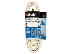 9' Cube Extension Cord With Power Tap, White Woods Extension Cords 0601W