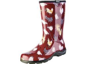 Size 10 Barn Red Women's Rain And Garden Chicken Print  Garden Boots Sloggers
