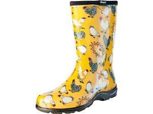 Size 8 Rain/Garden Chicken Print Garden Boots, Daffodil Yellow, Women's Sloggers