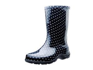 Size 10, Black/White Polka Dot Print Rain/Garden Shoe, Comfort Insole, Women's