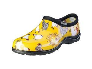 Size 7, Daffodil Yellow, Chicken Print  Women's Rain And Garden Shoe Sloggers