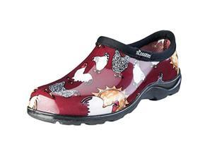 Size 10, Barn Red, Chicken Print  Women's Rain And Garden Shoe Sloggers