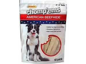 Chomp 'Ems American Beefhide Rolls-10Pk Bag Ruffin It Pet Supplies 3747