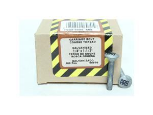 "100Pk 1/4"" x 1-1/2"" Carriage Bolt, ARB, Coarse Thread, Galvanized Crown Bolt"