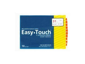 Easy Touch Insulin Syringes 31 Gauge 1cc 5/16 in - 10 ea.