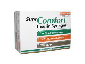 Sure Comfort Insulin Syringes 29 Gauge 1cc 1/2 in - 100 ea