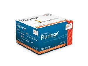 EasyTouch Fluringe Retractable Safety Syringe w/ Fixed Needle 25 Gauge 1cc 1 inch 100 ea.  Model 842511