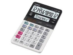 Casio JV-220 Dual Display Compact Desktop Calculator - 12 Digit(S) - Battery/Solar Powered - White - 1 Each