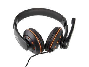New OV-Q5 USB Jack Stereo Headphone/Microphone Black + Orange for PC/Laptop