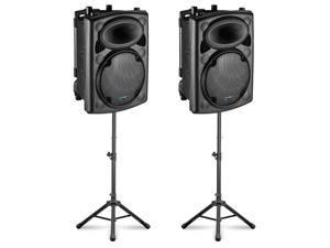 Technical Pro VORTEX12 Passive DJ 2-Way Speaker Pair ABS Plastic with Trolley and Stands 2400 Watts VORTEX-PK2