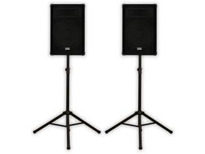 "Acoustic Audio DR15 Pro 15"" Speaker Pair PA DJ Karaoke Band 1400 Watts 2 Way and Stands DR15-PK2"