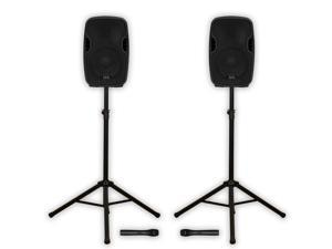 "Acoustic Audio AA84UB Active 1200W 8"" Bluetooth Battery Powered Speakers Wireless Mics Stands AA84UB-PK2"
